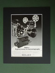 Vintage 1974 Bolex Advertisement  Mounted Advert by PrimrosePrints, £10.00 Mounted Advert Print - Cine Camera - Projector - Matted - Cinematography - 8mm Film