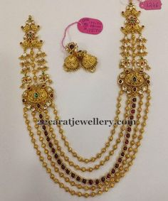Jewellery Designs: Five Strings Haram with Kundan Motifs