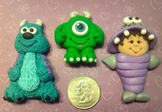 MONSTERS -  Polymer Clay Bow Center or Pendants