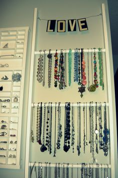 I'm doing this! Ladder Necklace Holder #organize #jewelry #diy