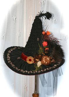Handmade Heirloom Victorian Witch Hat by Studio Sisu, Vintage Materials, Real… Halloween Witch Hat, Holidays Halloween, Vintage Halloween, Happy Halloween, Halloween Decorations, Victorian Halloween, Witch Hats, Halloween 2017, Tulle Bows