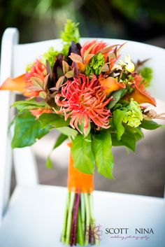 This is a gorgeous orange and green wedding bouquet!