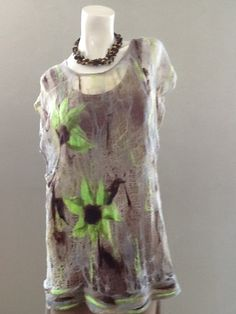 Nuno felted tunic OOAK wool and cotton felted Art to por BeatasSoul, $98.00