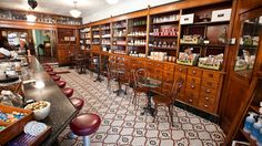 Brooklyn Farmacy & Soda Fountain//513 Henry St, Brooklyn, NY = I imagine that this is very close to what my Great Grandfather's Shop looked like. I would love to be able to remodel a kitchen to reflect this part of my heritage.