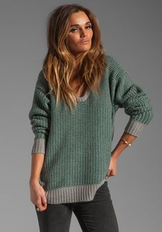 T BY ALEXANDER WANG Checkered Float V Neck Dolman in Heather Grey & Vine at Revolve Clothing - Free Shipping!