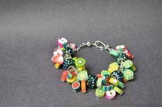 Fruity Polymer clay beaded bracelet polymer clay by OxyFineCrafts
