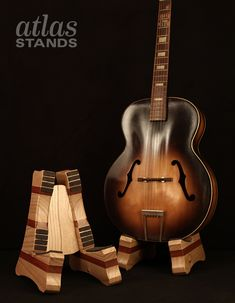 Paulownia and Mahogany - Wooden Atlas Guitar Stands www.atlas-stands.com