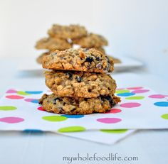 Chocolate Chip Oatmeal Cookies.  This is a healthier version and a great stepping stone recipe if you are trying to make healthier sweets.  Super soft and chewy.  Vegan and gluten free.