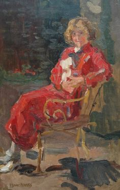 'Isaac' Lazarus Israels (Amsterdam 1865-1934 Den Haag) Lady in a red dress - Dutch Art Gallery Simonis and Buunk Ede, Netherlands.