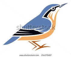 Stylized Bird - Eurasian Nuthatch - stock vector