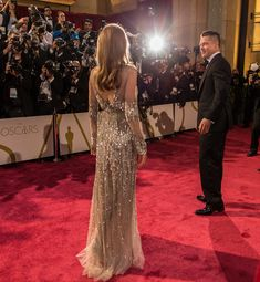 Angelina Jolie's golden Elie Saab dress was sexy from the front, but from behind? Pure glamour.