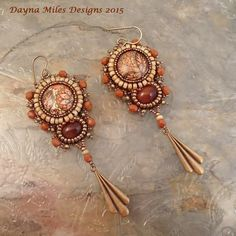 Paisley Print Bead Embroidery Earrings Orange by DaynaMilesDesigns