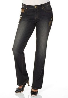 sheego Denim Jeans in Bootcut-Form – black