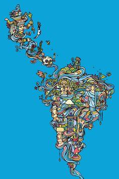 Available Prints - https://society6.com/product/la166194_print?curator=ninhol Latin America map | Brasil, Chile, Colombia, Argentina, Bolívia, México, Uruguai ...  http://www.ninhol.com