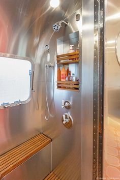 California DreamStream Airstream by Timeless Travel Trailers_12 Airstream Living, Airstream Campers, Airstream Remodel, Airstream Interior, Vintage Airstream, Vintage Caravans, Camper Renovation, Remodeled Campers, Vintage Trailers