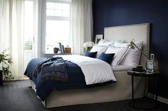 Navy Bedrooms, Gray Bedroom, One Bedroom, Bedroom Decor, Navy Blue Walls, Blue Bedding, Apartment Living, Home Interior Design, House Design
