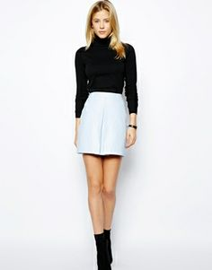 ASOS A-Line Leather Skirt With Pleat