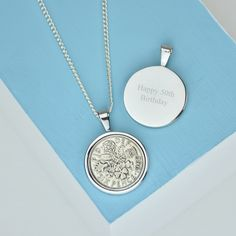A lucky sixpence necklace from Ellie Elle. Handmade from a real lucky silver sixpence piece, this personalised silver necklace makes an ideal gift!
