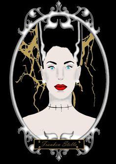 Bride of Frankenstein in mondern vintage style.