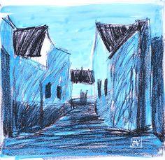 Paisaje 34-2003 Fuente Obejuna Dibujo Técnica por PINACOTHECULA