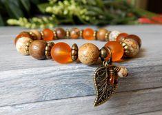 Orange Bracelet, Leaf Charm Bracelet, Boho Bracelet, Earthy Jewelry, Fall Fashion, Boho Jewelry, Fall Bracelet, Autumn Jewelry
