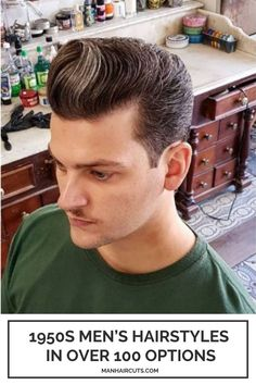 This swoopy top with gray colored strands is an amazing 1950's men's hairstyle that you can try. Ask for a tapered side with a long, slightly tilted top that you will carefully arrange to achieve this look. #1950menhairstyles #swoopytop #taperedhairstyles #retrohairstyles #menhairstyles #manhaircuts Skin Fade Hairstyle, Taper Fade Haircut, Pompadour Hairstyle, Tapered Haircut, Hairstyle Look, 1950s Mens Hairstyles, Slick Back Haircut, Mullet Haircut