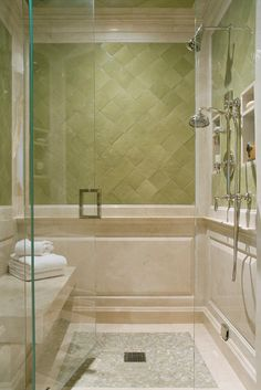Create a feeling of bathroom space: Floor to ceiling shower tile