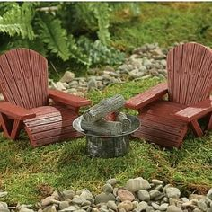 Lawn Chairs and Fire Pit. www.teeliesfairygarden.com . . . Make your fairies' summer nights more memorable with these lawn chairs and fire pit. They can talk about happy stories and enjoy marshmallows. #fairychair