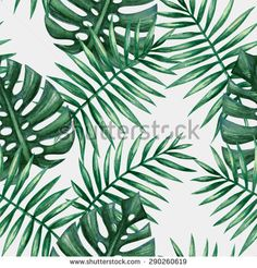 Watercolor tropical palm leaves seamless pattern. Vector illustration. - stock vector