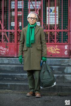 Japanese man wearing all green Streetstyle - Hirofumi Kurino #Menswear