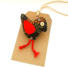 Retro Bird brooch padded 70s Brown and Orange by WittyDawnUK