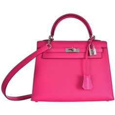 Hermes Kelly 25cm Bag Pink Fuschia Sallier Chevre Goat skin Leather... ($20,910) ❤ liked on Polyvore featuring bags, genuine leather bags, leather bags, pink leather bag, fuschia bag and fuchsia bag