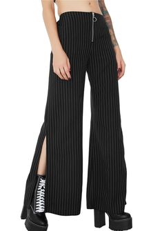 The Ragged Priest Reject Trousers cuz we love a good underdog...these dope pinstripe pants have a high-waist fit, wide legs with slitted sides, in-seam pockets and zipper closure with O-ring pull. #dollskill #theraggedpriest #newarrivals #NEWNEW #style #fashion #baddie #beautytips #trousers