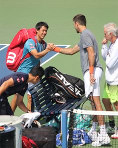 Kei Nishikori and Juan Martin Del Potro. Preparing for US Open 2016