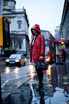 London Fashion Week Street Style Raincoat Women