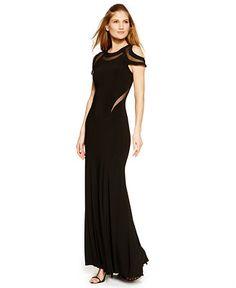 Xscape Illusion Mesh Cold-Shoulder Dress - Dresses - Women - Macy's
