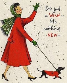 Vintage dachshund Christmas card - woman and doxie walk in matching red coats.