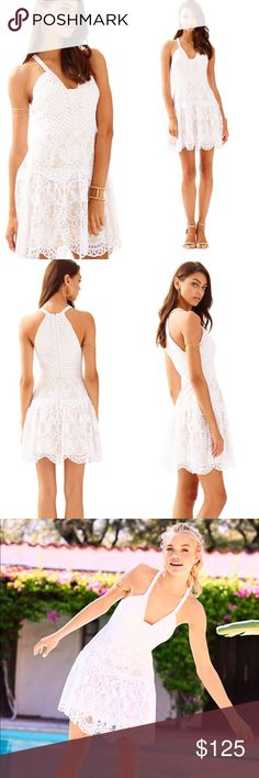 """Lilly Pulitzer ADELLA LACE DRESS Resort White New Condition: brand new without tags, never worn. 2017 s/s collection. White dresses like the Adella Dress are meant to be worn on some of your happiest days. This fit and flare halter dress has a nude lining and custom lace that makes your occasion just that much more special. Lace Halter Dress. Engineered Exotic Lace (62% Polyester, 38% Nylon). Runs true to size Flat measurements: us4: bust:35"""", waist:28"""",length:36"""" us6: bust:36""""…"""