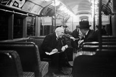 City gents, 1939. - I wonder whether this was First Class as I know the Tube had classed carriages in the early days? ~M x