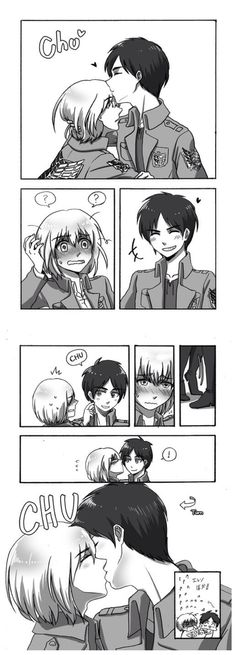 Eren is tricky with stealing kisses, causing a berry red Armin. Eremin