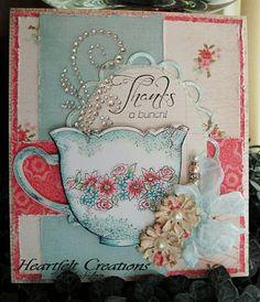 Heartfelt Creations   Light Blue China Tea Cup