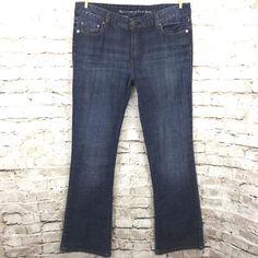 Levi's 553 Womens 12M / 31 Mid Rise Boot Cut Jeans Dark Distressed Wash Denim  #Levis #BootCut