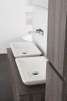 Dubbele opbouwkom keramiek op badkamermeubel Stone Type 3 greeploos - Thebalux