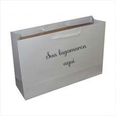 Sacola de papel branca -personalizda em 01 cor - kit com 100 unidades