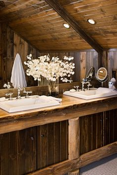 Log Home Photos | Rustic Bathroom   Expedition Log Homes, LLC