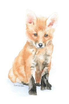 Baby Fox Aquarellzeichnung 4 x 6  von SusanWindsor auf Etsy, $7.00