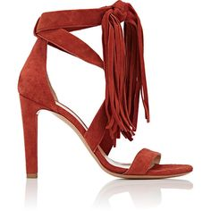 Chloé Women's Fringe-Detailed Suede Sandals ($379) ❤ liked on Polyvore featuring shoes, sandals, heels, zapatos, red, high heel shoes, red high heel sandals, red heeled sandals, red fringe sandals and high heeled footwear