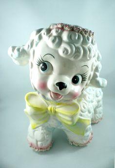 vintage Ceramic Lamb Figurine Planter Nursery by TheVintageDomain, $17.00