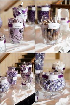 Grey and Purple Wedding favors decor ideas