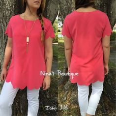 Classy and trendy tops Scallop laser cut short sleeve tops in coral. S(2/4) M(6/8) L(10/12) Price is firm unless bundled Tops